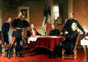 """German General Staff in the German-French War 1870/71; """"War Council in Versailles"""", painting by Anton Alexander von Werner (sitting on the left: Wilhelm I , King of Prussia and later the first emperor of the German Reich, sitting right in front: Otto von Bismarck , founder of the German Reich and later Chancellor of the Reich ; sitting at the mirror Chief of the General Staff Field Marshal Helmuth Karl Bernhard von Moltke ); in the background from left to right the flag of Prussia next to the flag of the then North German Confederation."""