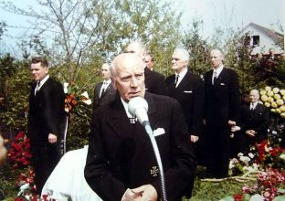 "SS-Obergruppenfuhrer and General of the Waffen-SS retired Wilhelm ""Willi"" Bittrich at the burial ceremony for SS Colonel Gruppenfuhrer and Colonel-General of the Waffen-SS a. D. Josef ""Sepp"" Dietrich , 1966."