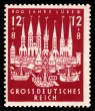 """800 Years Lübeck "": The first officially issued German stamp on 24 October 1943 using the designation ""Greater German Reich"" (issuing country)."