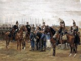 French Lancers and Cuirassiers guarding captured Bavarian soldiers.