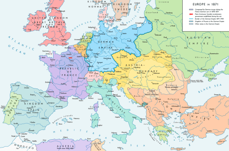 Europe after the Franco-Prussian War and the German Unification.