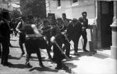 This picture is usually associated with the arrest of Gavrilo Princip, although some believe it depicts Ferdinand Behr, a bystander.