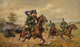 Battle of Stürzelbronn : Chevauleger Hermann Weinacht rescues a Prussian hussar on 1 August 1870.