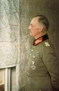 Field Marshal von Rundstedt in front of a map.