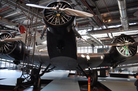 Junkers Ju 52/3m (D-AZAW) is on display at the Deutsches Technikmuseum in Berlin.