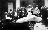 Photograph of the Archduke and his wife emerging from the Sarajevo Town Hall to board their car, a few minutes before the assassination.