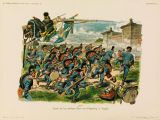 Bavarian infantry at the battle of Wissembourg, 1870.