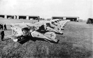 A lineup of Albatros D.III fighters of Jagdstaffel 50 - mid to late 1917. The subdued staffel scheme of black and white stripes and chevrons can be seen on the fuselage and tailplanes of most machines, which are otherwise in factory finish.