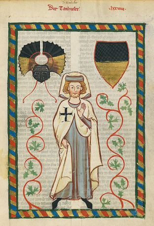 The poet Tannhäuser as Teutonic Knights with the Black Cross , excerpt from the Große Heidelberger Liederhandschrift.