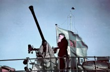 A Bofors anti-aircraft gun on the Finnish minelayer Ruotsinsalmi.