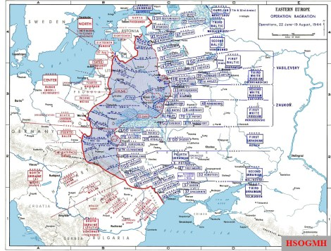Eastern Front, June–August 1944. The attack at the connection between Army Groups Centre (Third Panzer Army) and North (Sixteenth Army) west of Riga is marked.