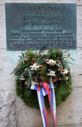 A plaque in the inner courtyard of the Memorial to the German Resistance, near the spot where Stauffenberg and others were executed in July 1944.