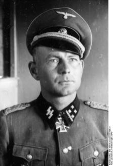 Otto Kumm as an SS-Obersturmbannführer (lieutenant colonel) in March 1943. Kumm commanded the 7th SS through some of its hardest fighting in 1944, and ended the war with the Knight's Cross of the Iron Cross with Oak Leaves and Swords.