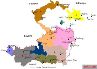 The Sudetenland (brown) and the German language islands within Czecho-Slovakia.