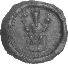 Seal of Conrad II (1029), with a depiction of the eagle-sceptre.