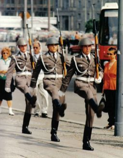 Soldiers of the Guard Regiment Friedrich Engels marching at a changing-of-the-guard ceremony at the Neue Wache on the Unter den Linden in Berlin.