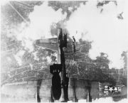 USAAF B-17 damaged by mis-timed bomb release over Berlin, 19 May 1944.