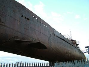 Part of the hull and conning tower of U-534.