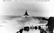 Last photo of the Bismarck from the heavy cruiser Prinz Eugen, May 1941.