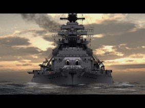Video game rendition of the Battleship Bismarck.