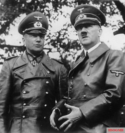 Walther von Brauchitsch and Adolf Hitler at the victory parade of the Wehrmacht in Warsaw after the Polish campaign on 5 October 1939.
