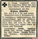 Obituary notice for son and brother Klaus.