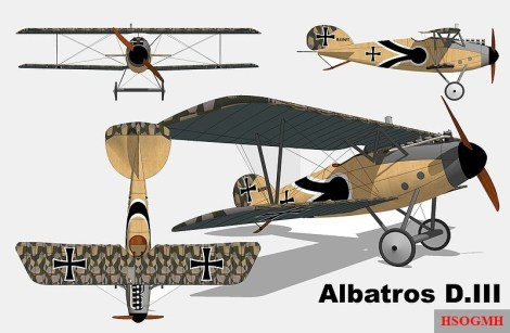 "Views of an Albatros D.III with ""Lozenge camouflage""."