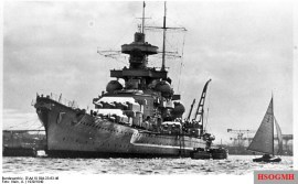 Battleship Scharnhorst in port, Winter 1939-40.