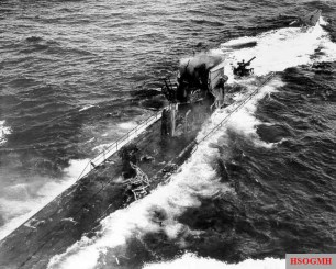 U-175 on the surface shortly before sinking.