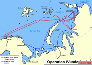 Map showing the route taken by Admiral Scheer during Operation Wunderland.