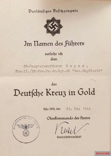 German Cross in Gold documentation.