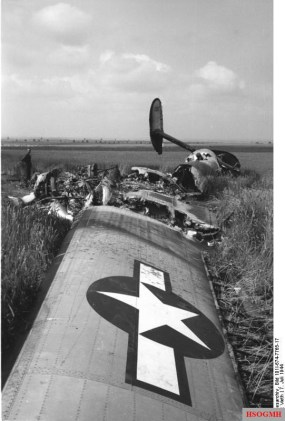 Downed Consolidated B-24 Liberator of the 492nd Bomb Group after an aerial battle over Oschersleben on 7 July 1944.