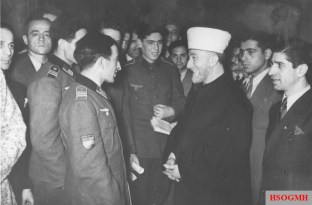 Al-Husseini meeting with Muslim volunteers, including the Azerbaijani Legion, at the opening of the Islamic Central Institute in Berlin on 18 December 1942, during the Muslim festival Eid al-Adha.