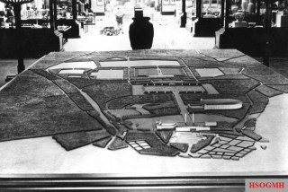 Mock-up of the Rally grounds in their planned finished shape at the World Fair in Paris, 1937.