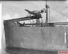 Sea Hurricane Mk IA on the catapult of a CAM ship.