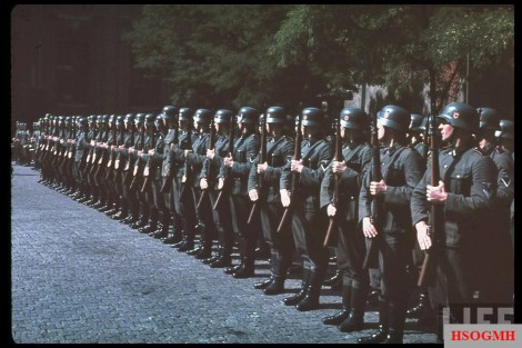 """Unsere Garde"": Waffen-SS troops from an unidentified artillery unit (note red piping on the shoulder boards) stand at attention in the Siegfried Line/Westwall."