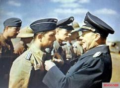 General der Flieger Hans Geisler (Kommandierender General X. Fliegerkorps) in an award ceremony for luftwaffe member whom served in anti-shipping operation in Mediterranean Sea.
