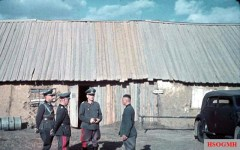 Generalfeldmarschall Walther von Reichenau (Oberbefehlshaber 6. Armee) with his staff officers in the Russian Front during Unternehmen Barbarossa, August 1941.