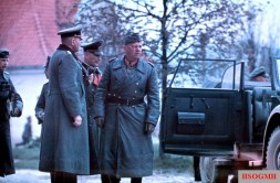 Generalfeldmarschall Walther von Reichenau (right, Oberbefehlshaber 6. Armee) during the Russian Campaign, accompanied by Wehrmacht officers. Behind Reichenau is Generalleutnant Max Pfeffer (Kommandeur 297. Infanterie-Division) which subordinated to 6. Armee.