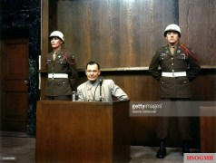 "Former German Reichsmarschall and Commander of the Luftwaffe Hermann Göring - a.k.a. ""The Bad Nazi"" - during cross examination at his trial for war crimes in Room 600 at the Palace of Justice during the International Military Tribunal (IMT), Nuremberg, Germany, 15 March 1946."