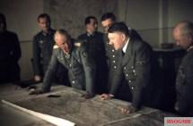 """Lagebesprechung in the Führerhauptquartier, 15 September 1943. FLTR: Oberstleutnant Nicolaus von Below (Luftwaffen-Adjutant der """"Adjutantur der Wehrmacht beim Führer und Reichskanzler""""); Oberstleutnant Gerhard Engel (Heeres-Adjutant der """"Adjutantur der Wehrmacht beim Führer und Reichskanzler""""); Generalfeldmarschall Erich von Manstein (Oberbefehlshaber Heeresgruppe Süd); Oberst im Generalstab Joachim Meichßner (Chef der Organisationsabteilung im Wehrmachtführungsstab); Generalleutnant Theodor Busse (Chef des Generalstabes Heeresgruppe Süd), Adolf Hitler (Führer und Reichskanzler), and General der Infanterie Kurt Zeitzler (Chef des Generalstabes des Heeres)."""