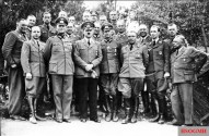 Nicolaus von Below (second from right, front row) with Hitler and staff in 1940.