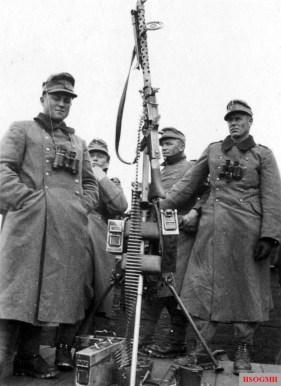 Tripod mounted MG 34 setup for its anti-aircraft role.