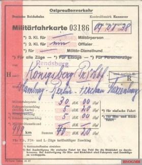 1938 military ticket from Rendsburg to Königsberg (Pr.).