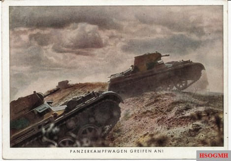 "Nice color image of Panzer I's advance during prewar training. Three-color prewar camouflage scheme can be seen to good advantage. No writing on reverse of this postcard which was printed and distributed by the periodical ""Die Wehrmacht""."