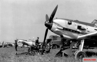Four Bf 109 of JG 51 in France 1940.