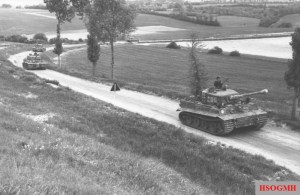 Wittmann's company, 7 June 1944, on Route nationale 316, en route to Morgny. Wittmann is standing in the turret of Tiger 205.