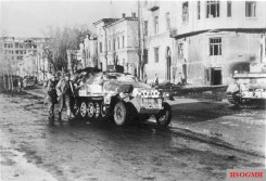 German armored personnel carrier on the Sumskaya street of Kharkov, March 1943.
