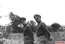 "From left to right: Generalfeldmarschall Erwin Rommel (Oberbefehlshaber Heeresgruppe B) and SS-Obergruppenführer und General der Waffen-SS Josef ""Sepp"" Dietrich (Kommandierender General I. SS-Panzerkorps) photographed at the invasion front in Normandy, Summer of 1944."