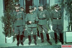 From left: Lieutenant General Hans Suttner , SS-Brigadeführer and Major General of Police Oskar Knofe (Commander of the Ordnungspolizei in Salzburg), SS-Brigadeführer and Major General of Police Karl Brenner (Staff of the SS-Generalkommando) and SS-Standartenführer Dr. Walter Blume on the occasion of the proclamation of the Gauleiter of Carinthia and Chief of the Civil Administration of the Occupation Authorities of the Region of Upper Carniola.